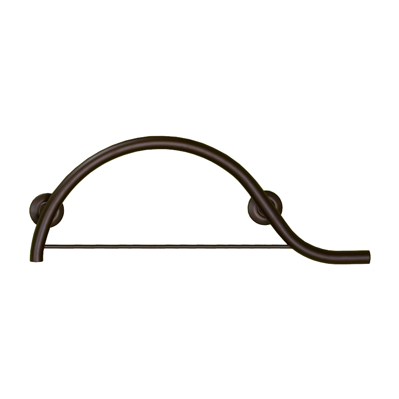Bronze Curved Grab bar with Towel Bar
